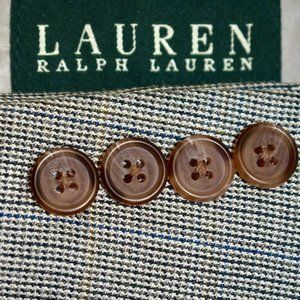 46R Ralph Lauren SILK Taupe Gray Plaid Sport Coat